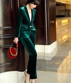 レディース 韓国ファッション 上下2点セット スーツ ビジネス オフィス ダンススーツ テーラードジャケット + パンツ ベルベット 大人かっこいい 上品 グリーン ネイビー 緑 紺 ビックサイズ