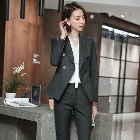 レディース 韓国ファッション 上下2点セット テーラードジャケット + アンクル丈パンツ スーツ クール 上品 ビジネス オフィス ネイビー ピンク グレー ビックサイズ