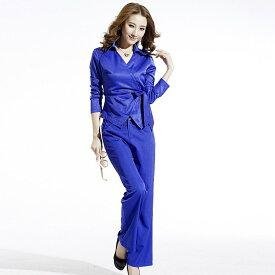 レディース 韓国ファッション 上下セット トップス + パンツ サッシュベルト ダンススーツ クール 大人かっこいい オフィス ブラック ネイビー ベージュ ブルー レッド ビックサイズ