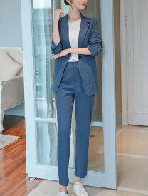 「最大5%OFFクーポン配布中」 レディース 韓国ファッション 2点セット テーラードジャケット + クロップドパンツ セットアップ 長袖 カジュアル 大人女子 大人かっこいい クール お仕事コーデ きちんと感 ブラック ブルー ベージュ S M L XL サイズ 送料無料
