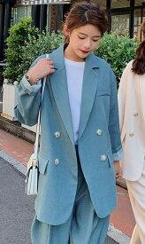 「最大5%OFFクーポン配布中」 レディース 韓国ファッション セットアップ パンツスーツ 無地 長袖 ジャケット アンクル丈 パンツ ワイドレッグ カジュアルスーツ ビジネス オフィス きれいめ 女子会 ベージュ ブルー S M L XL 送料無料