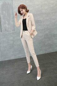 レディース 韓国ファッション 上下2点セット テーラードジャケット + クロップドパンツ セットアップ 長袖 ビジネス シンプル 大人女子 ブラック ベージュ グリーン ブラウン S M L XL サイズ