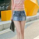 レディース 韓国ファッション ボトムス デニム ホットパンツ ショートパンツ 超ミニ マイクロミニ スカート 無地 春夏 オフコーデ 学生 ラフスタイル デート プール 海 ブルー S M L XL