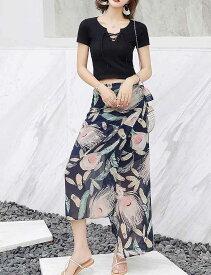 レディース 韓国ファッション 上下2点セット Tシャツ カットソー ロングスカート マキシ丈 ロング丈 セットアップ リゾート 大人可愛い ブラック 花柄 S M L XL サイズ