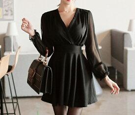 「最大5%OFFクーポン配布中」 レディース 韓国ファッション ワンピース Vネック ミニ丈 フレア 裾広がりスリーブ 細身 ロングスリーブ 普段着 オフコーデ OFF 大人女子 上品 ブラック S M L XL 2XL 大きいサイズ
