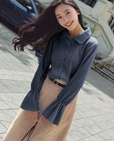 レディース 韓国ファッション ツーピース 上下セット ロングスリーブシャツ ラッパ袖 スカート 秋物冬物 普段着 オフコーデ OFF 大人可愛い フォーマル ベージュ ブルー S M L XL