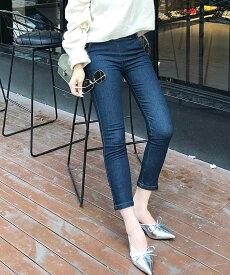 レディース 韓国ファッション デニムパンツ クロップド くるぶし丈 ボトムス 普段着 オフコーデ OFF 上品 フォーマル ブルー インディゴ XS S M L サイズ