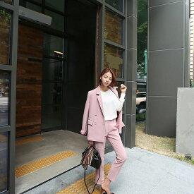 レディース 韓国ファッション 上下2点セット スーツ セットアップ テーラードジャケット アンクルパンツ ビジネス 会社 ON 大人可愛い カジュアル キュート フェミニン お出かけ服 オフィス ピンク S M L XL 2XL 大きいサイズ