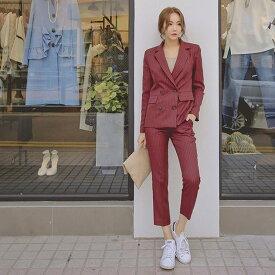 レディース 韓国ファッション 上下2点セット スーツ セットアップ テーラードジャケット アンクルパンツ カジュアル オフィス ON キュート フェミニン オフィス ブラック レッド グレー ホワイト S M L XL サイズ