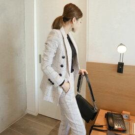 レディース 韓国ファッション 上下2点セット チェック柄 テーラードジャケット アンクルパンツ スリム スーツ オフコーデ OFF セットアップ カジュアル フェミニン オフィス ホワイト S M L XL 2XL 大きいサイズ