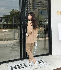レディース 上下2点セット テーラードジャケット パンツ スリム スーツ セットアップ ビジネス 会社 ON カジュアル キュート フェミニン お出かけ服 オフィス ライトブラウン S M L XL サイズ