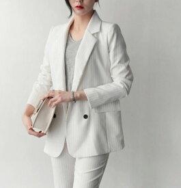 レディース スーツ 上下2点セット ジャケット アンクルパンツ クロップド セットアップ カジュアル 仕事 会社 フェミニン お出かけ服 オフィス ホワイト レッド グレー ブラック S M L XL サイズ