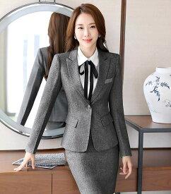 レディース 韓国ファッション 3点セット ジャケット ブラウス 細身スカート ハイウエスト セットアップ ビジネス スーツ ON カジュアル フェミニン お出かけ服 オフィス ブラック グレー 2XL 3XL 4XL 5XL 6XL 7XL 大きいサイズ
