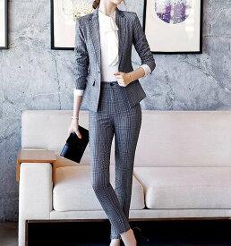 レディース 韓国ファッション 3点セット ジャケット スカート アンクルパンツ クロップド ミニ丈 セットアップ ビジネス オフィス 会社 ON OFFフォーマル キュート フェミニン お出かけ服 オフィス グレー S M L XL 2XL 3XL 4XL 大きいサイズ