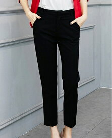 レディース 韓国ファッション アンクルパンツ クロップド 半端丈 ハイウエスト ボトムス カジュアル キュート ビジネス 会社 オフコーデ OFF ON フェミニン お出かけ服 オフィス ブラック ホワイト S M L XL 2XL 大きいサイズ
