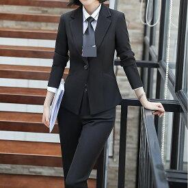 レディース 韓国ファッション 3点セット ジャケット ブラウス スカート パンツ 長袖 セットアップ フォーマル キュート フェミニン お出かけ服 会社 ビジネス スーツ ON オフィス ブラック ホワイト S M L XL 2XL 3XL 4XL 大きいサイズ