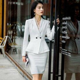 レディース 韓国ファッション 3点セット ジャケット ブラウス スカート パンツ 長袖 セットアップ フォーマル ビジネス スーツ ON フェミニン お出かけ服 オフィス ホワイト ネイビー S M L XL 2XL 3XL 大きいサイズ
