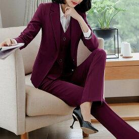 レディース 韓国ファッション 3点セット ジャケット ブラウス パンツ スカート 長袖 セットアップ フォーマル フェミニン お出かけ服 オフィス スーツ 会社 ON OFF ワインレッド ブラック S M L XL 2XL 3XL 4XL 大きいサイズ