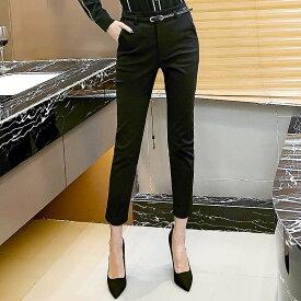 レディース 韓国ファッション 大きいサイズ ハイウエスト アンクルパンツ くるぶし丈 くるぶし丈 ボトムス 普段着 オフコーデ OFF ビジネス ON フォーマル ブラック M L XL 2XL サイズ