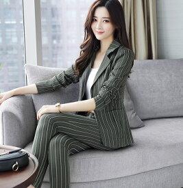 レディース 韓国ファッション 大きいサイズ スーツ パンツ しましま 上下セット セットアップ くるぶし丈 ジャケット ボトムス フォーマル ビジネス フォーマル オリーブ ピンク S M L XL 2XL サイズ