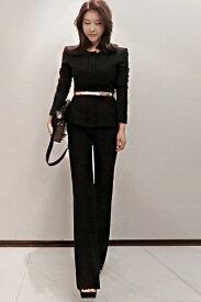 レディース 韓国ファッション スーツ パンツ ハイウエスト 上下セット セットアップ ジャケット ロングスリーブ ボトムス フォーマル ビジネス フォーマル ブラック ホワイト S M L XL サイズ