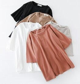 レディース 大きいサイズ Tシャツ 半袖 ショートスリーブ ショートスリーブ 夏物 春物 トップス 普段着 オフコーデ OFF リラックスコーデ ブラック ホワイト イエロー ブラウン ベージュ M L XL 2XL