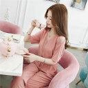 レディース 韓国ファッション オールインワン Vネック 半袖 ショートスリーブ クロップドパンツ ショルダースリット …
