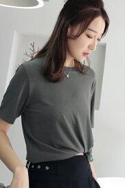 レディース 韓国ファッション 半袖 ショートスリーブTシャツ クルーネック カットソー 夏物 春物 トップス 普段着 オフコーデ OFF ピンク オリーブ ホワイト ブラウン Fサイズ