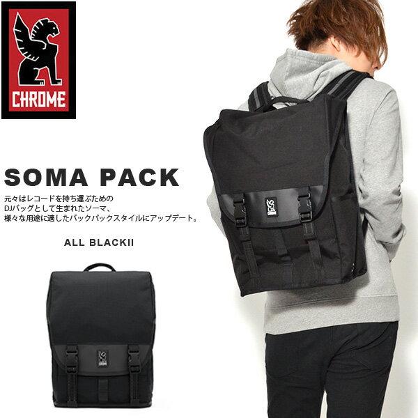 送料無料 バックパック クローム CHROME メンズ 25L SOMA PACK ソーマ パック ブラック 黒 ストリート ピスト バイク スケボー リュック ザック リュックサック デイパック バッグ 通勤 通学
