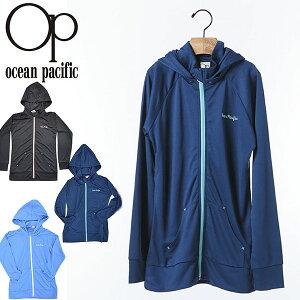 長袖 ラッシュパーカー オーシャンパシフィック Ocean Pacific OP キッズ 子供 フード付き ラッシュガード ロゴ フルジップパーカー 水着 UVカット サーフィン ボディボード プール 海水浴 マリン