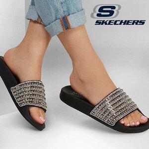 スケッチャーズ サンダル SKECHERS レディース POP UPS - ROCKER GLAM シャワーサンダル キラキラサンダル スライド ぺたんこサンダル ぺたんこ靴 キラキラ 黒 ブラック 119193 得割20
