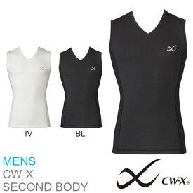 CW-X メッシュ アンダーウェア メンズ Vネック ノースリーブ コンプレッション インナー ワコール Wacoal セカンドボディ インナーウェア スポーツウェア 吸汗速乾 UVカット ランニング トレーニング マラソン ゴルフ 得割10