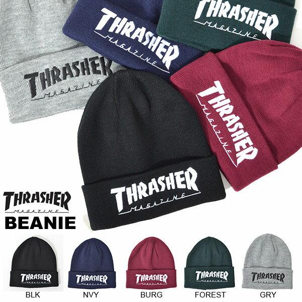ニット帽 THRASHER スラッシャー メンズ レディース 刺繍 17TH-N62 Beanie ロゴ 折り返し ロゴ刺繍 ビーニー ニットキャップ スケボー スノボ スノーボード 20%off
