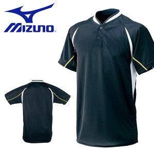 送料無料 半袖 Tシャツ ミズノ MIZUNO メンズ シャツ ハーフボタン 小衿付き 野球 ソフトボール トレーニング ウェア 草野球 クラブ 部活 練習 合宿 52LE209 得割10