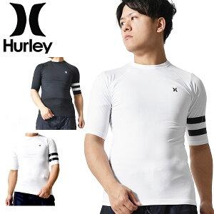 送料無料 半袖ラッシュガード HURLEY ハーレー メンズ COMPRESSION BLOCK PARTY SS TEE ロゴ UVカット ラッシュTシャツ 紫外線対策 ラッシュ Tシャツ サーフィン 海 海水浴 サーフ プール ランニング アウ