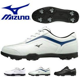 送料無料 軽量 ゴルフシューズ ミズノ MIZUNO メンズ T-ZOID ゴルフ ソフトスパイク シューズ 靴 シューレース 靴紐 ホワイト 白 スポーツ