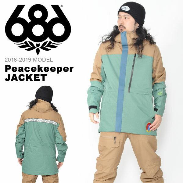 送料無料 スノーボードウェア 686 SIX EIGHT SIX シックスエイトシックス Peacekeeper JACKET メンズ ジャケット スノボ スノーボード スノーウェア 2018-2019冬新作 18-19 18/19 得割20