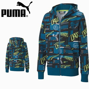 30%OFF キッズ スウェット パーカー プーマ PUMA ジュニア 子供 ALPHA AOP フルジップ フーディー FL 裏起毛 スエット トレーナー ロゴ スポーツウェア ブルー 青 585202