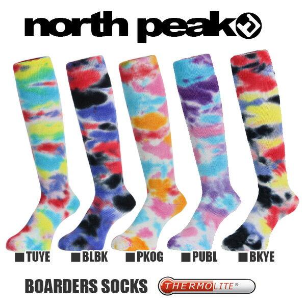 タイダイ スノー ロング ソックス ハイソックス メンズ ノースピーク north peak スキー スノーボード スノボ アウトドア 靴下 得割30