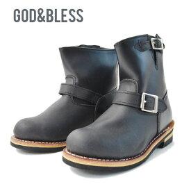 送料無料 エンジニアブーツ ショート メンズ レディース ゴッドブレス 9809 God&Bless グッドイヤーウェルト製法 FAKE LEATHER ENGINEER BOOTS ブーツ ショートブーツ