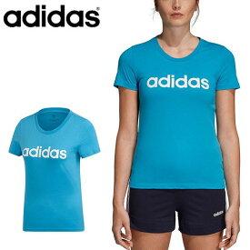 半袖 Tシャツ アディダス adidas レディース W 半袖 リニア コットン Tシャツ スポーツウェア ランニング ジョギング トレーニング ウェア ジム ヨガ フィットネス 得割25 FRU56