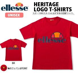 半袖 Tシャツ ellesse エレッセ メンズ レディース ヘリテージ ロゴティー TEE シャツ ロゴ ビッグロゴ プリント ユニセックス ブリリアントレッド EH19106