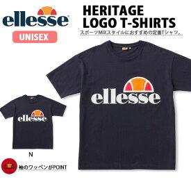 半袖 Tシャツ ellesse エレッセ メンズ レディース ヘリテージ ロゴティー TEE シャツ ロゴ ビッグロゴ プリント ユニセックス ネイビー EH19106