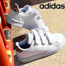 送料無料 アディダス キッズ スニーカー adidas ADVANCOURT C ジュニア 子供 アドバンコート 男の子 女の子 ヒョウ柄 レオパード 学校 通学 ベルクロ シューズ 靴 ホワイト 白 2021春新色 FY9246