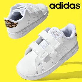 アディダス ベビーシューズ adidas ADVANCOURT I ジュニア 子供 アドバンコート 男の子 女の子 ベルクロ ヒョウ柄 レオパード スニーカー 子供靴 ファーストシューズ シューズ 靴 ホワイト 白 2021春新色 得割10 FZ0033