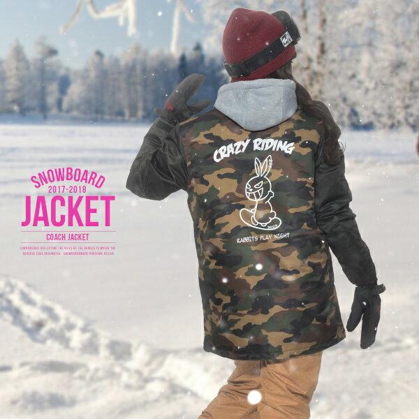 予約販売 12月中旬頃発送予定 送料無料 スノーボードウェア レディース Coach Jacket コーチジャケット バックプリント スノーウエア スノーボード ウェア スノボウエア SNOWBOARD JACKET 17-18 2017-2018冬新作