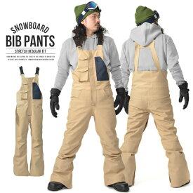 送料無料 ビブパンツ メンズ スノーボードウェア レギュラーフィット ストレッチ スノーパンツ ボトムス 立体縫製 撥水加工 スノボパンツ スノボウエア スキー オーバーオール つなぎ SNOWBOARD BIB PANTS 18-19