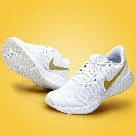 送料無料 ナイキ レディース ランニングシューズ NIKE レボリューション 5 ランニング ジョギング マラソン 運動靴 スニーカー シューズ 初心者 トレーニング REVOLUTION ホワイト ゴールド 白 BQ3207 2021春新作