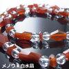 メール便【送料無料】天然石オレンジメノウ、白水晶ネックレス★2162