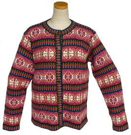 女性用 アルパカ100%カーデイガン ALCA-036 丸首 ペルー製 アンデス ソフト 暖かい 幾何学柄